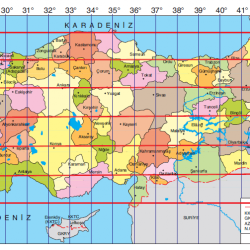 Türkiyeden Geçen Meridyen ve Paralel Haritası.PNG